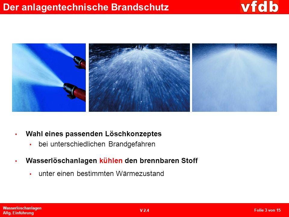Der anlagentechnische Brandschutz Wasserlöschanlagen Allg. Einführung V 2.4 Wahl eines passenden Löschkonzeptes bei unterschiedlichen Brandgefahren Wa