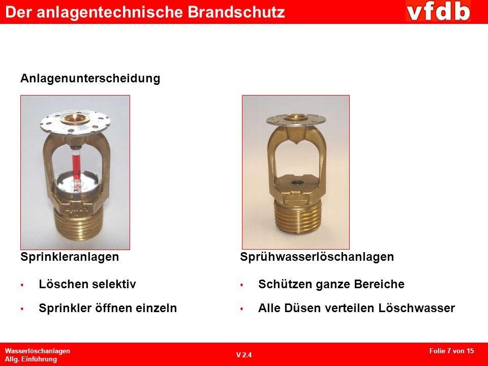 Der anlagentechnische Brandschutz Wasserlöschanlagen Allg. Einführung V 2.4 Sprinkleranlagen Löschen selektiv Sprinkler öffnen einzeln Sprühwasserlösc