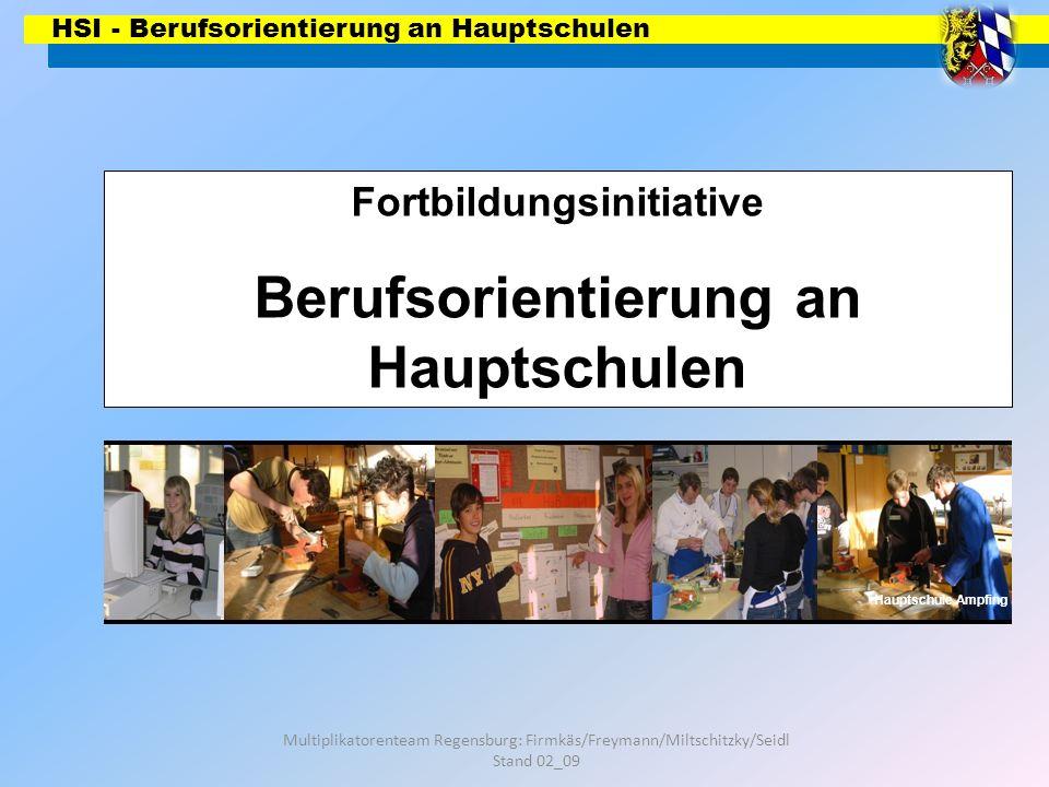 HSI - Berufsorientierung an Hauptschulen Multiplikatorenteam Regensburg: Firmkäs/Freymann/Miltschitzky/Seidl Stand 02_09 Wie viele Schüler leisten in welchen berufs- orientierenden Bereichen ein Praktikum ab.
