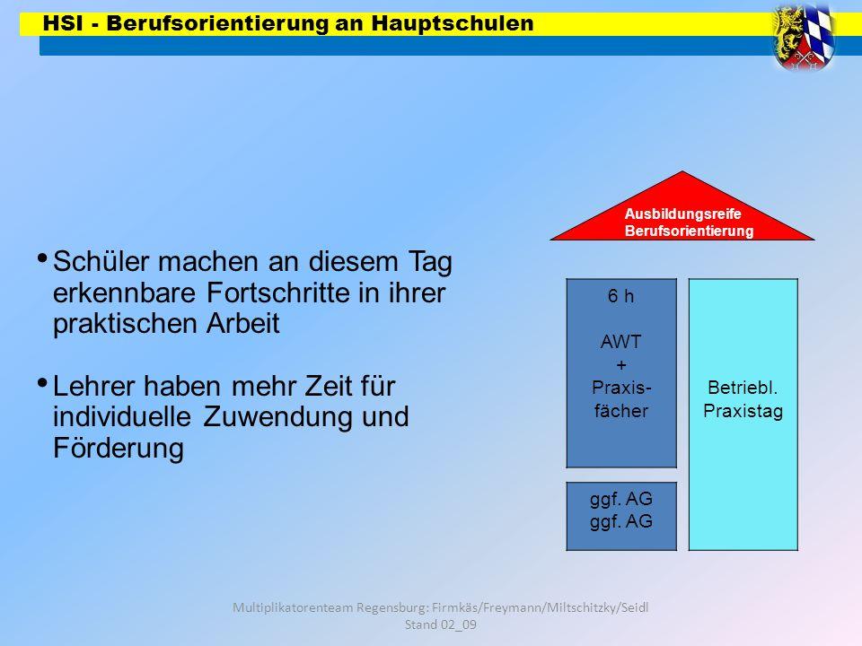 HSI - Berufsorientierung an Hauptschulen Multiplikatorenteam Regensburg: Firmkäs/Freymann/Miltschitzky/Seidl Stand 02_09 6 h AWT + Praxis- fächer Ausb