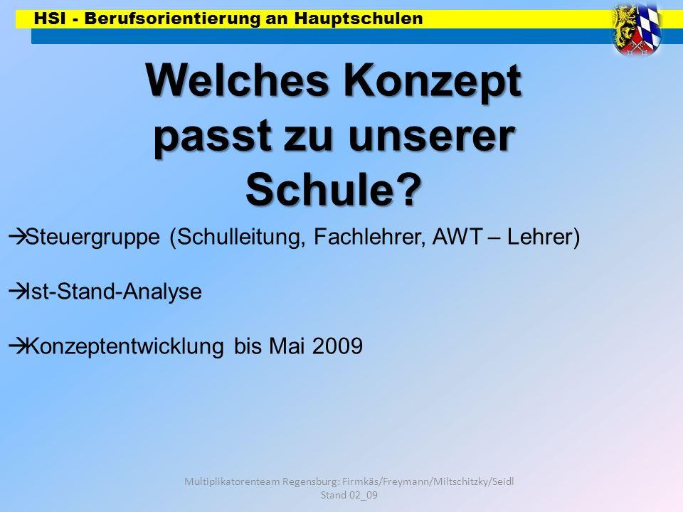 HSI - Berufsorientierung an Hauptschulen Multiplikatorenteam Regensburg: Firmkäs/Freymann/Miltschitzky/Seidl Stand 02_09 Welches Konzept passt zu unse