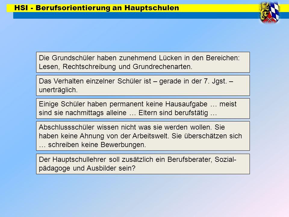 HSI - Berufsorientierung an Hauptschulen Multiplikatorenteam Regensburg: Firmkäs/Freymann/Miltschitzky/Seidl Stand 02_09 Modulare Förderung (Deutsch, Mathematik, Englisch) Das Verhalten einzelner Schüler ist – gerade in der 7.