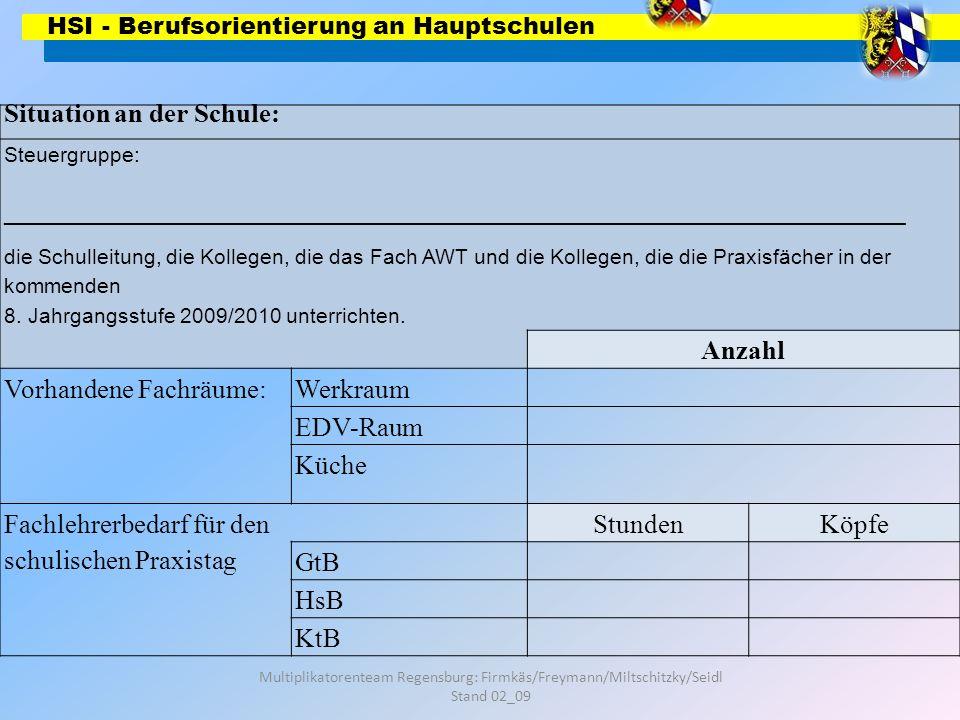 HSI - Berufsorientierung an Hauptschulen Multiplikatorenteam Regensburg: Firmkäs/Freymann/Miltschitzky/Seidl Stand 02_09 Situation an der Schule: Steu