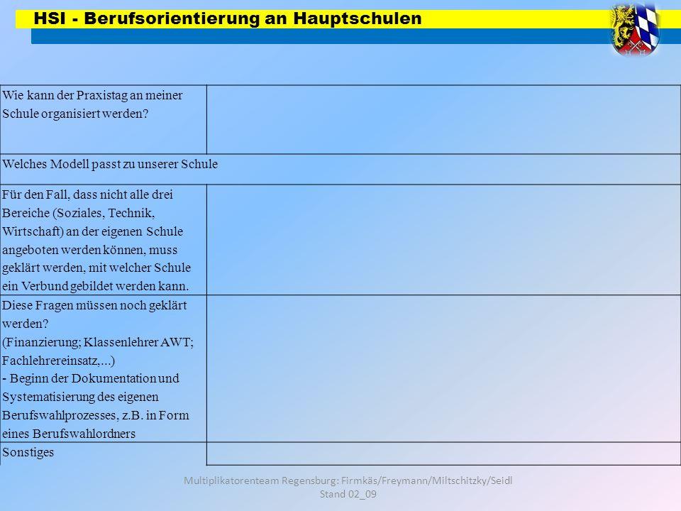 HSI - Berufsorientierung an Hauptschulen Multiplikatorenteam Regensburg: Firmkäs/Freymann/Miltschitzky/Seidl Stand 02_09 Wie kann der Praxistag an mei