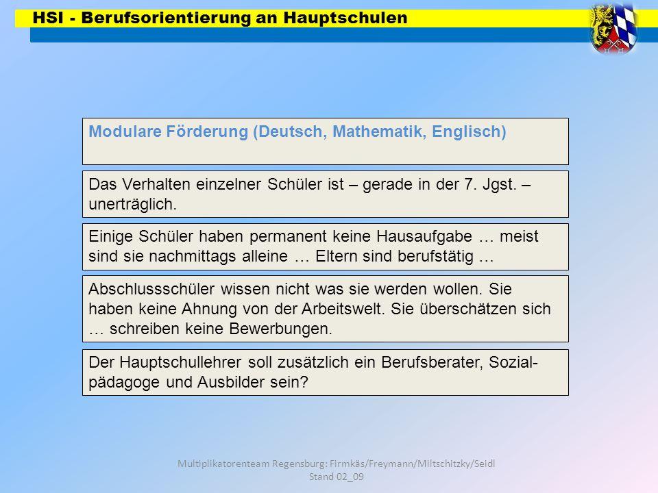 HSI - Berufsorientierung an Hauptschulen Multiplikatorenteam Regensburg: Firmkäs/Freymann/Miltschitzky/Seidl Stand 02_09 Wir bedanken uns für Ihre Aufmerksamkeit!