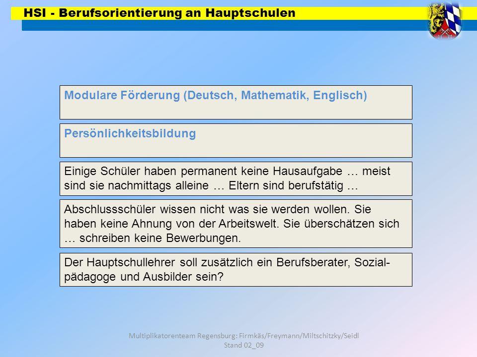 HSI - Berufsorientierung an Hauptschulen Multiplikatorenteam Regensburg: Firmkäs/Freymann/Miltschitzky/Seidl Stand 02_09 Modulare Förderung (Deutsch, Mathematik, Englisch) Persönlichkeitsbildung Ganztagsschule Abschlussschüler wissen nicht was sie werden wollen.
