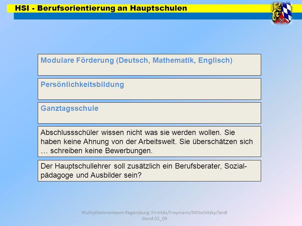 HSI - Berufsorientierung an Hauptschulen Multiplikatorenteam Regensburg: Firmkäs/Freymann/Miltschitzky/Seidl Stand 02_09 Modulare Förderung (Deutsch,