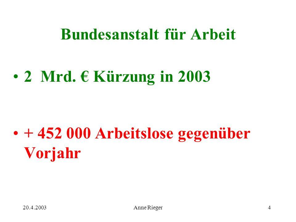 20.4.2003Anne Rieger4 Bundesanstalt für Arbeit 2 Mrd.