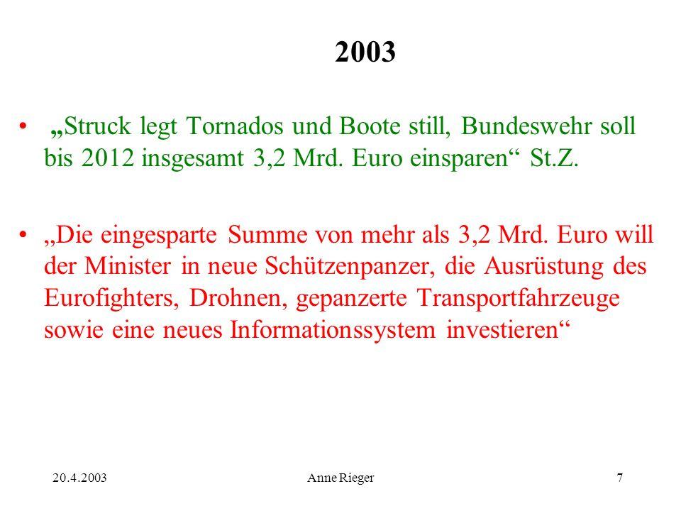 20.4.2003Anne Rieger7 2003 Struck legt Tornados und Boote still, Bundeswehr soll bis 2012 insgesamt 3,2 Mrd.