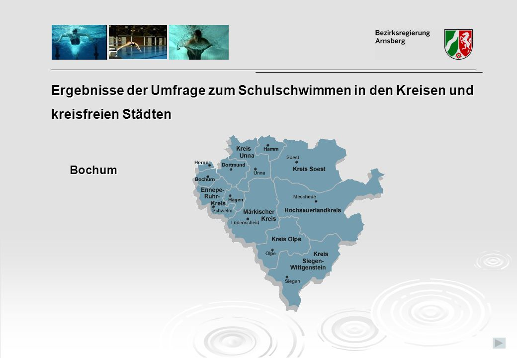 Ergebnisse der Umfrage zum Schulschwimmen in den Kreisen und kreisfreien Städten Bochum