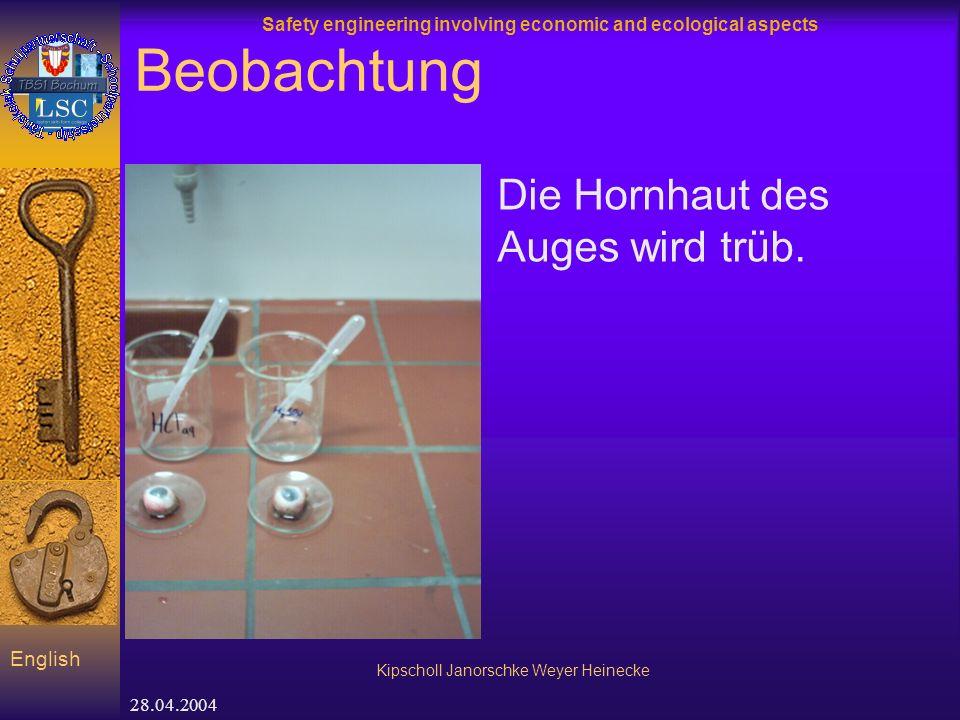 Safety engineering involving economic and ecological aspects Kipscholl Janorschke Weyer Heinecke English 28.04.2004 Beobachtung Die Hornhaut des Auges wird trüb.