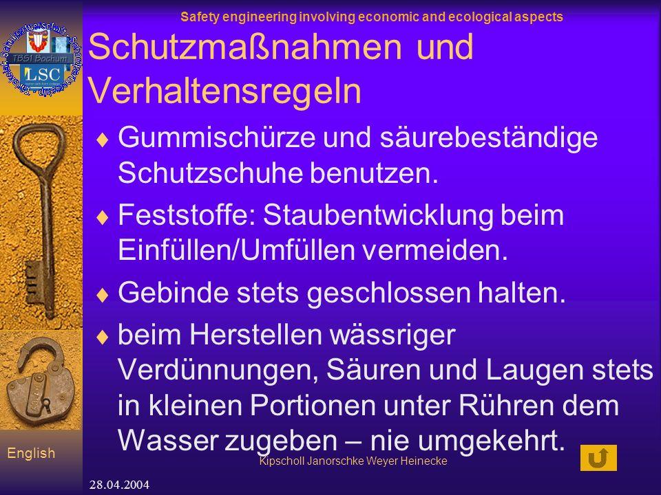 Safety engineering involving economic and ecological aspects Kipscholl Janorschke Weyer Heinecke English 28.04.2004 Schutzmaßnahmen und Verhaltensregeln Gummischürze und säurebeständige Schutzschuhe benutzen.