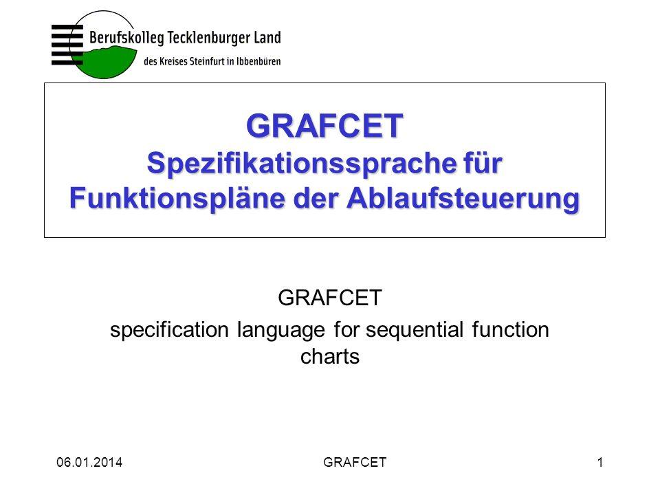 06.01.2014GRAFCET2 Die Norm GRAFCET: IEC 60848 vom April 2002 GRAFCET: EN 60848 vom Dezember 2002 löst DIN 40719 T.