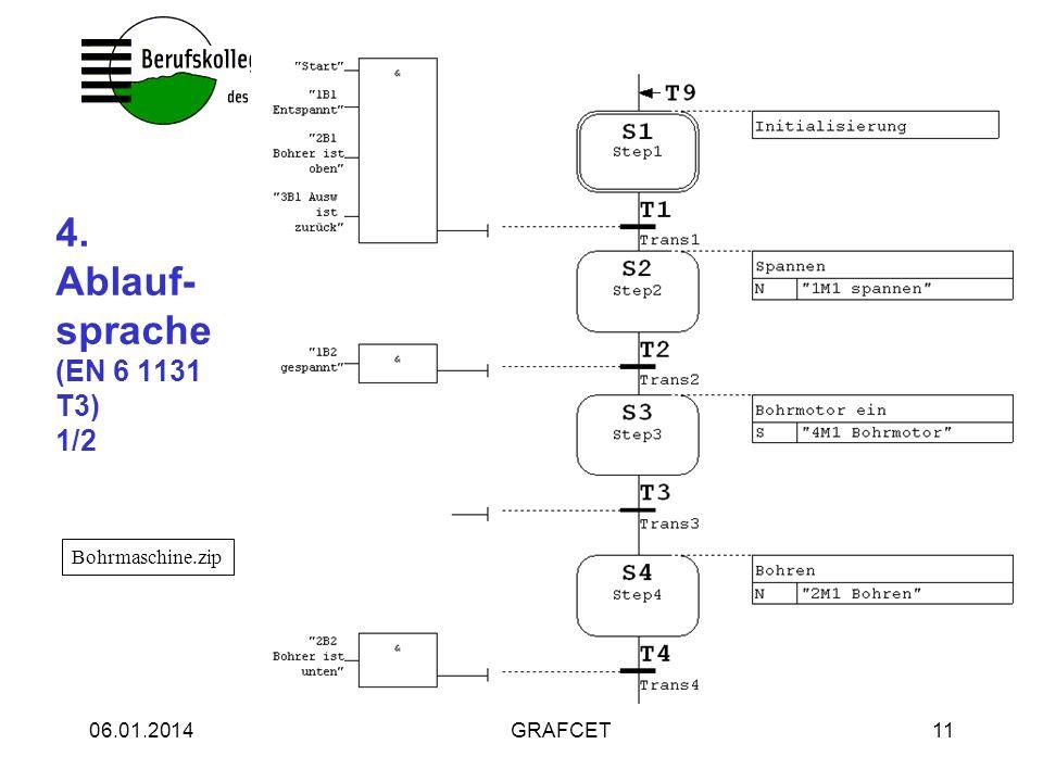 06.01.2014GRAFCET11 4. Ablauf- sprache (EN 6 1131 T3) 1/2 Bohrmaschine.zip