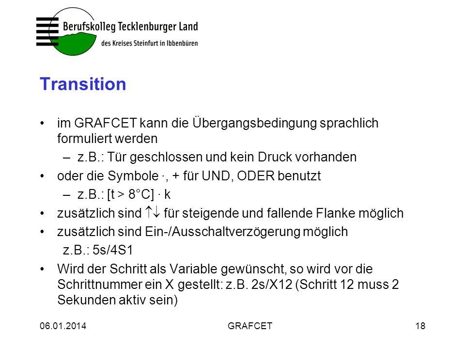 06.01.2014GRAFCET18 Transition im GRAFCET kann die Übergangsbedingung sprachlich formuliert werden –z.B.: Tür geschlossen und kein Druck vorhanden ode