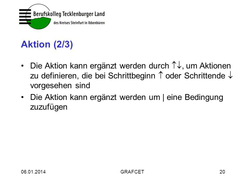 06.01.2014GRAFCET20 Aktion (2/3) Die Aktion kann ergänzt werden durch, um Aktionen zu definieren, die bei Schrittbeginn oder Schrittende vorgesehen si