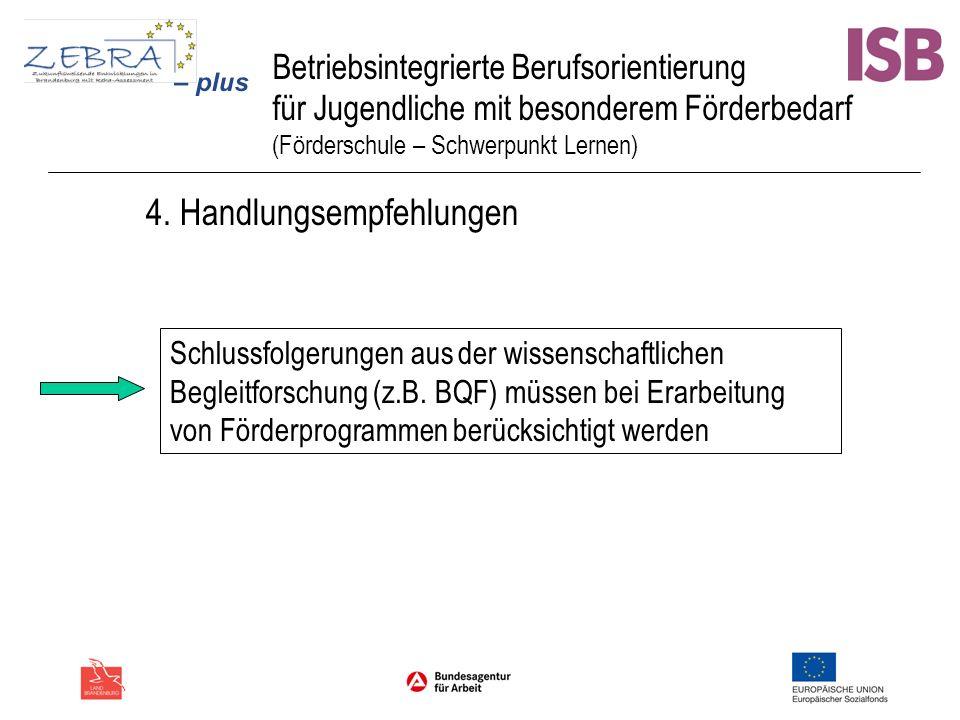 Betriebsintegrierte Berufsorientierung für Jugendliche mit besonderem Förderbedarf (Förderschule – Schwerpunkt Lernen) 4. Handlungsempfehlungen Schlus