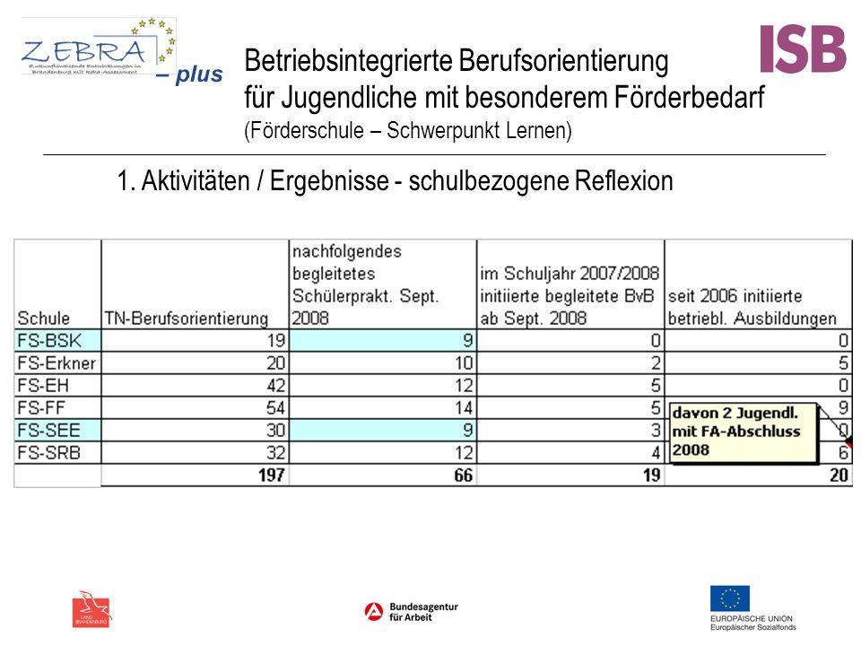 Betriebsintegrierte Berufsorientierung für Jugendliche mit besonderem Förderbedarf (Förderschule – Schwerpunkt Lernen) 1. Aktivitäten / Ergebnisse - s