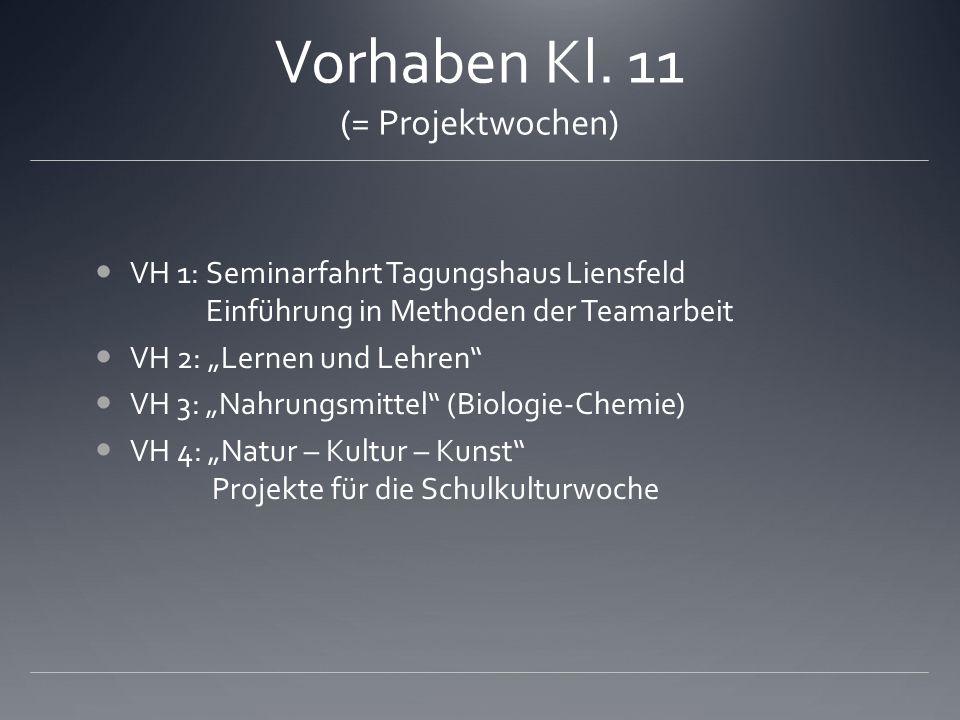 Vorhaben Kl. 11 (= Projektwochen) VH 1: Seminarfahrt Tagungshaus Liensfeld Einführung in Methoden der Teamarbeit VH 2: Lernen und Lehren VH 3: Nahrung