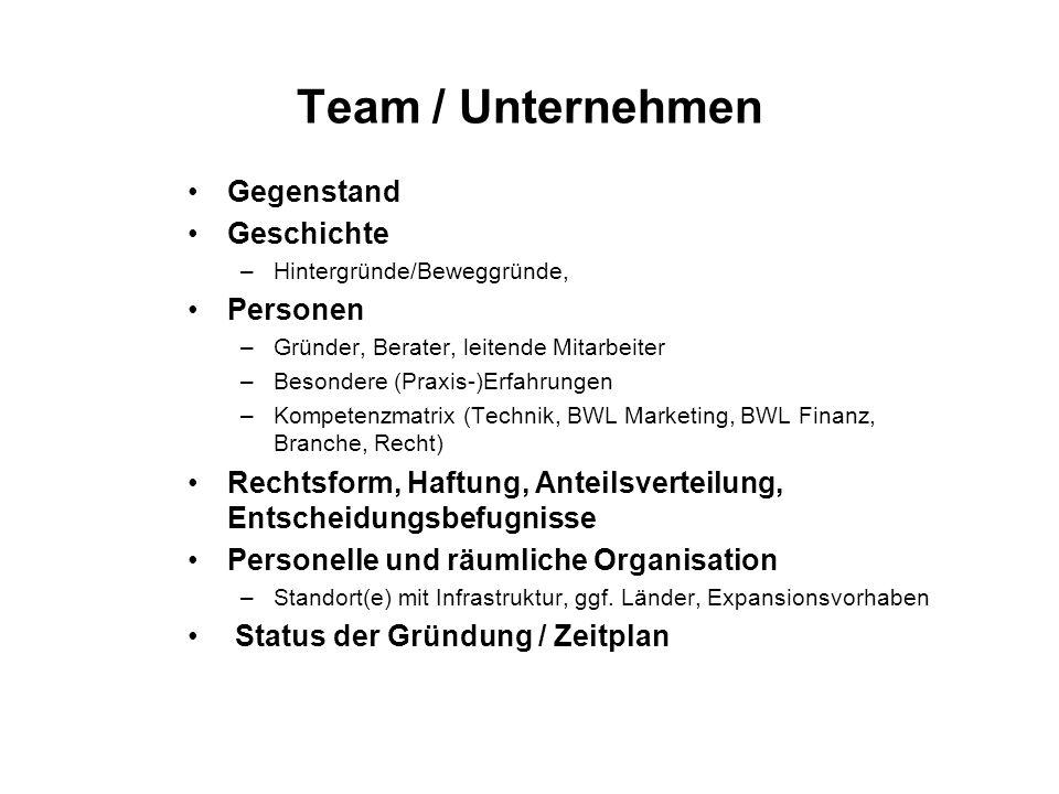 Team / Unternehmen Gegenstand Geschichte –Hintergründe/Beweggründe, Personen –Gründer, Berater, leitende Mitarbeiter –Besondere (Praxis-)Erfahrungen –