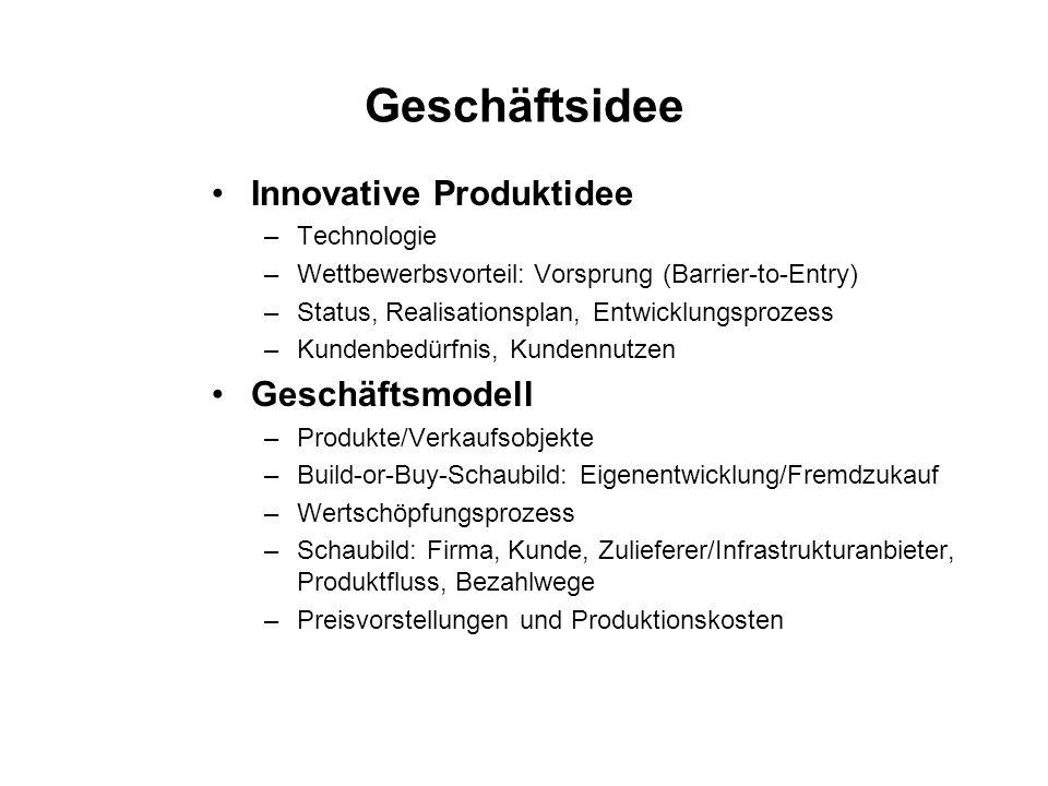 Geschäftsidee Innovative Produktidee –Technologie –Wettbewerbsvorteil: Vorsprung (Barrier-to-Entry) –Status, Realisationsplan, Entwicklungsprozess –Ku