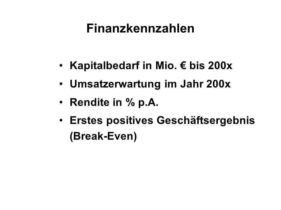 Finanzkennzahlen Kapitalbedarf in Mio. bis 200x Umsatzerwartung im Jahr 200x Rendite in % p.A. Erstes positives Geschäftsergebnis (Break-Even)