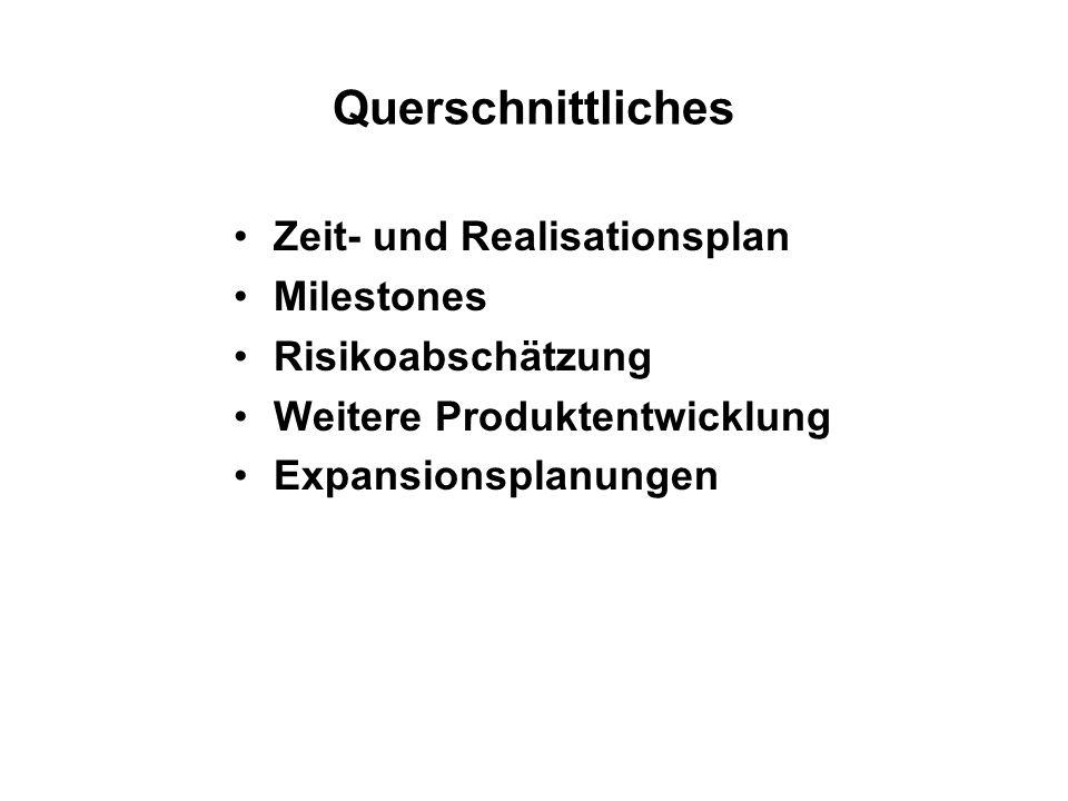 Querschnittliches Zeit- und Realisationsplan Milestones Risikoabschätzung Weitere Produktentwicklung Expansionsplanungen