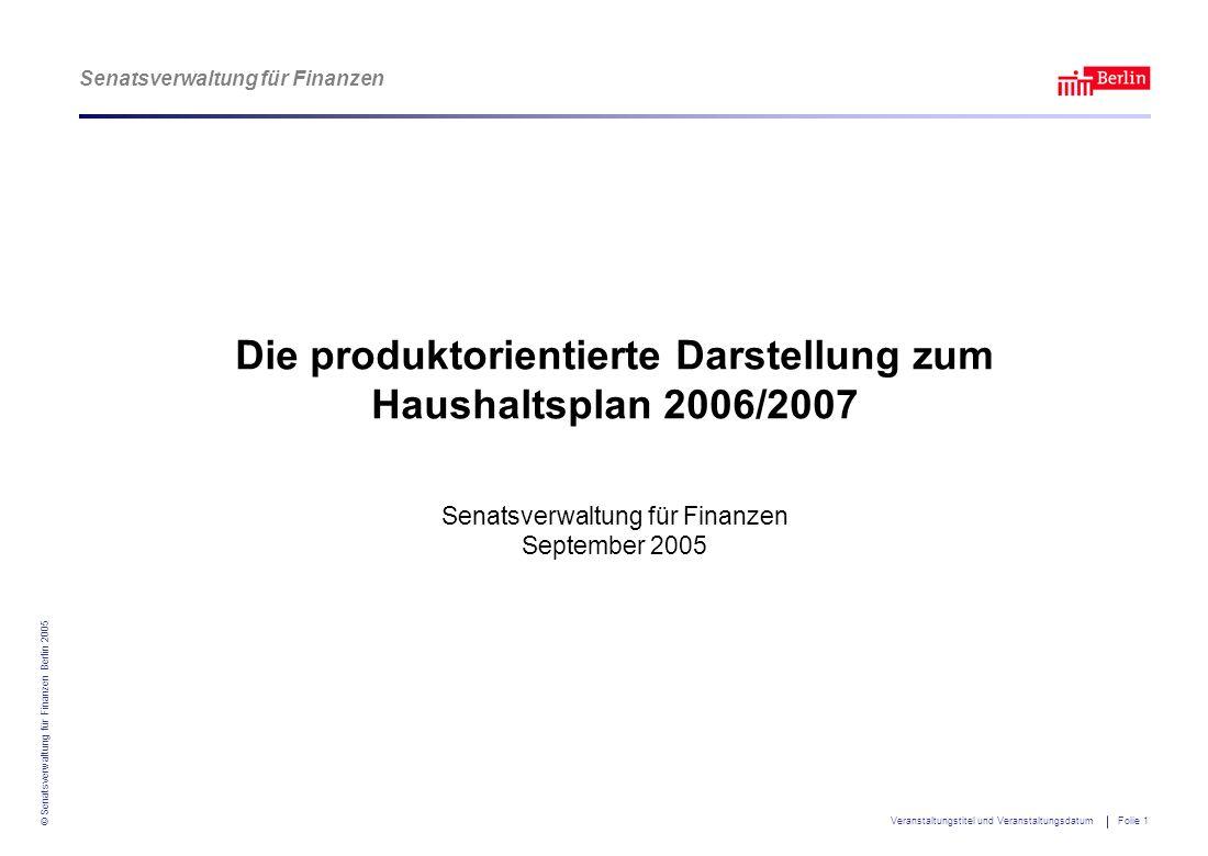 Senatsverwaltung für Finanzen © Senatsverwaltung für Finanzen Berlin 2005 Veranstaltungstitel und Veranstaltungsdatum Folie 1 Die produktorientierte D