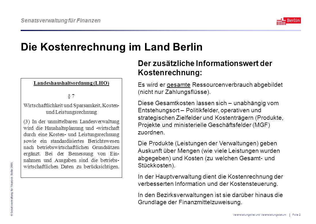Senatsverwaltung für Finanzen © Senatsverwaltung für Finanzen Berlin 2005 Veranstaltungstitel und Veranstaltungsdatum Folie 3 Was kostet...
