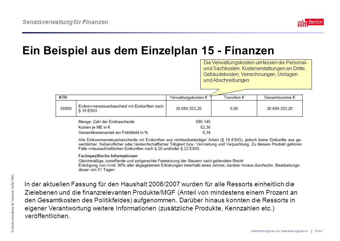 Senatsverwaltung für Finanzen © Senatsverwaltung für Finanzen Berlin 2005 Veranstaltungstitel und Veranstaltungsdatum Folie 7 Ein Beispiel aus dem Ein