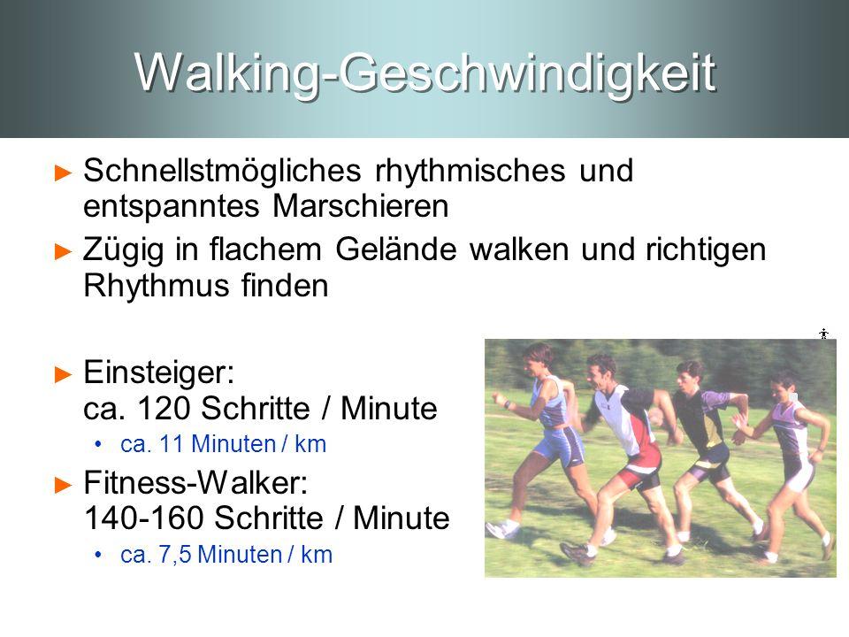 Walking-Geschwindigkeit Schnellstmögliches rhythmisches und entspanntes Marschieren Zügig in flachem Gelände walken und richtigen Rhythmus finden Eins