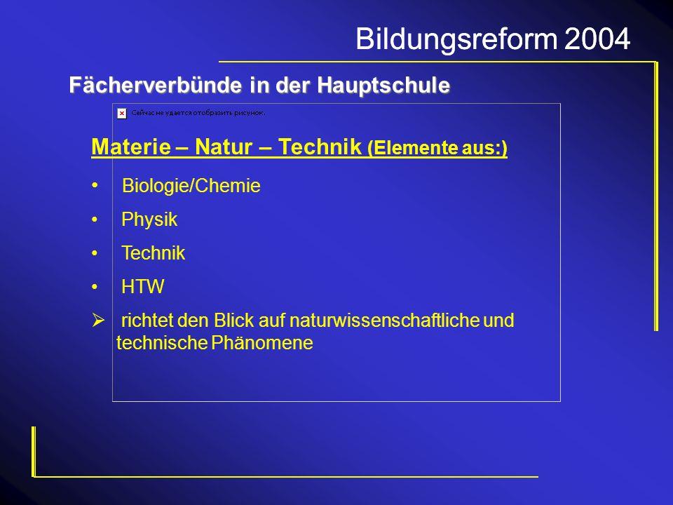 Bildungsreform 2004 Fächerverbünde in der Hauptschule Materie – Natur – Technik (Elemente aus:) Biologie/Chemie Physik Technik HTW richtet den Blick a