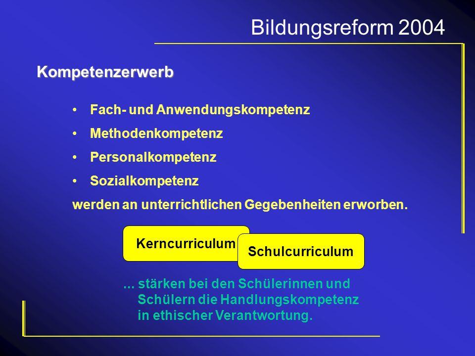 Bildungsreform 2004 KerncurriculumKompetenzerwerb Fach- und Anwendungskompetenz Methodenkompetenz Personalkompetenz Sozialkompetenz werden an unterric
