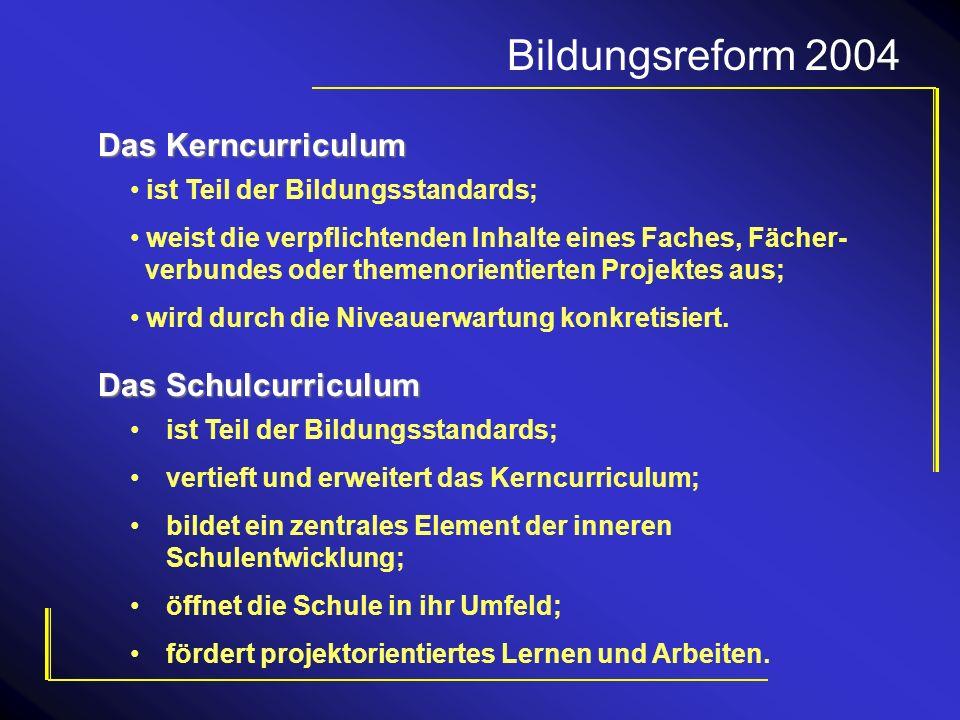 Bildungsreform 2004 ist Teil der Bildungsstandards; weist die verpflichtenden Inhalte eines Faches, Fächer- verbundes oder themenorientierten Projekte