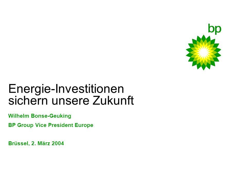 Energie-Investitionen sichern unsere Zukunft Wilhelm Bonse-Geuking BP Group Vice President Europe Brüssel, 2.