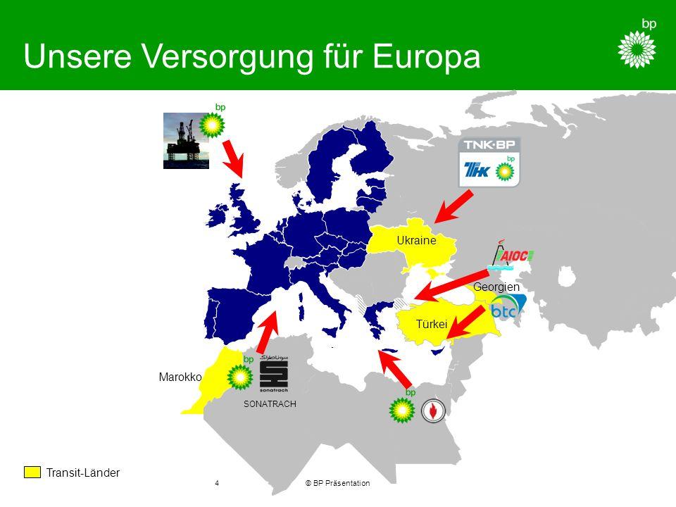 © BP Präsentation4 Unsere Versorgung für Europa SONATRACH Transit-Länder Ukraine Marokko Georgien Türkei
