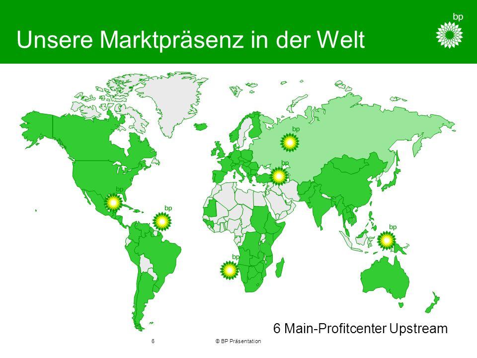 © BP Präsentation6 Unsere Marktpräsenz in der Welt 6 Main-Profitcenter Upstream