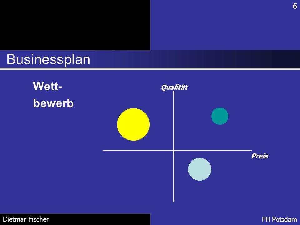 Businessplan 6 FH Potsdam Dietmar Fischer Wett- bewerb Qualität Preis