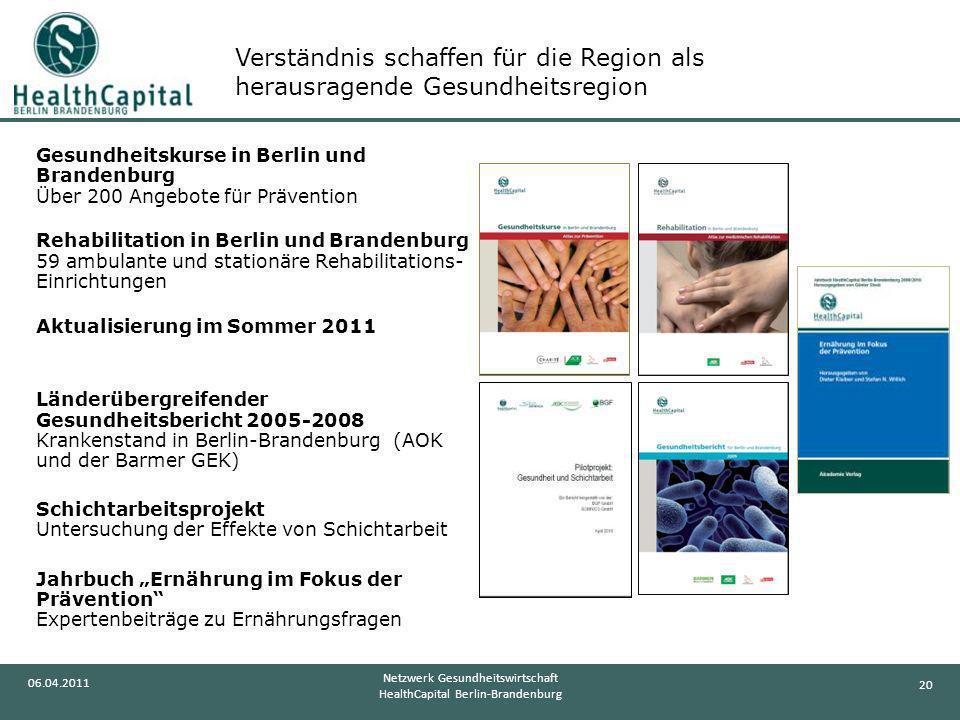 20 06.04.2011 Netzwerk Gesundheitswirtschaft HealthCapital Berlin-Brandenburg Gesundheitskurse in Berlin und Brandenburg Über 200 Angebote für Prävent