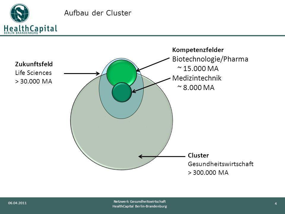 4 06.04.2011 Netzwerk Gesundheitswirtschaft HealthCapital Berlin-Brandenburg Cluster Gesundheitswirtschaft > 300.000 MA Zukunftsfeld Life Sciences > 3