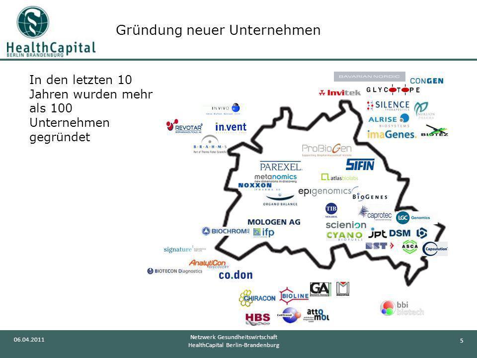 5 06.04.2011 Netzwerk Gesundheitswirtschaft HealthCapital Berlin-Brandenburg In den letzten 10 Jahren wurden mehr als 100 Unternehmen gegründet Gründu