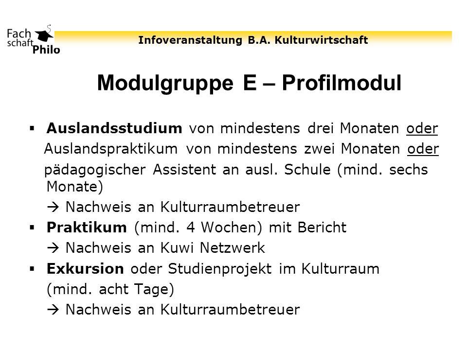 Infoveranstaltung B.A. Kulturwirtschaft Modulgruppe E – Profilmodul Auslandsstudium von mindestens drei Monaten oder Auslandspraktikum von mindestens