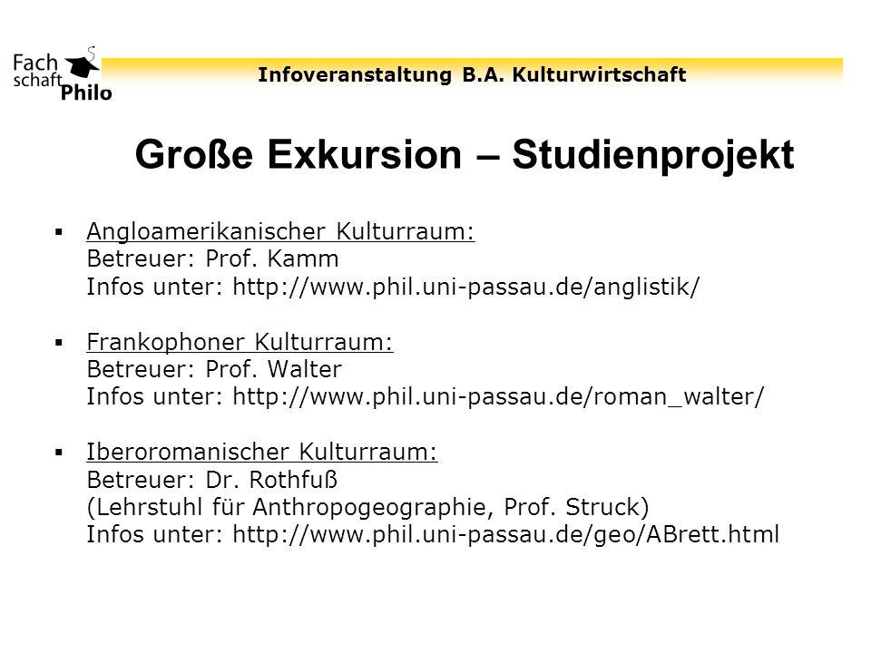 Infoveranstaltung B.A. Kulturwirtschaft Große Exkursion – Studienprojekt Angloamerikanischer Kulturraum: Betreuer: Prof. Kamm Infos unter: http://www.