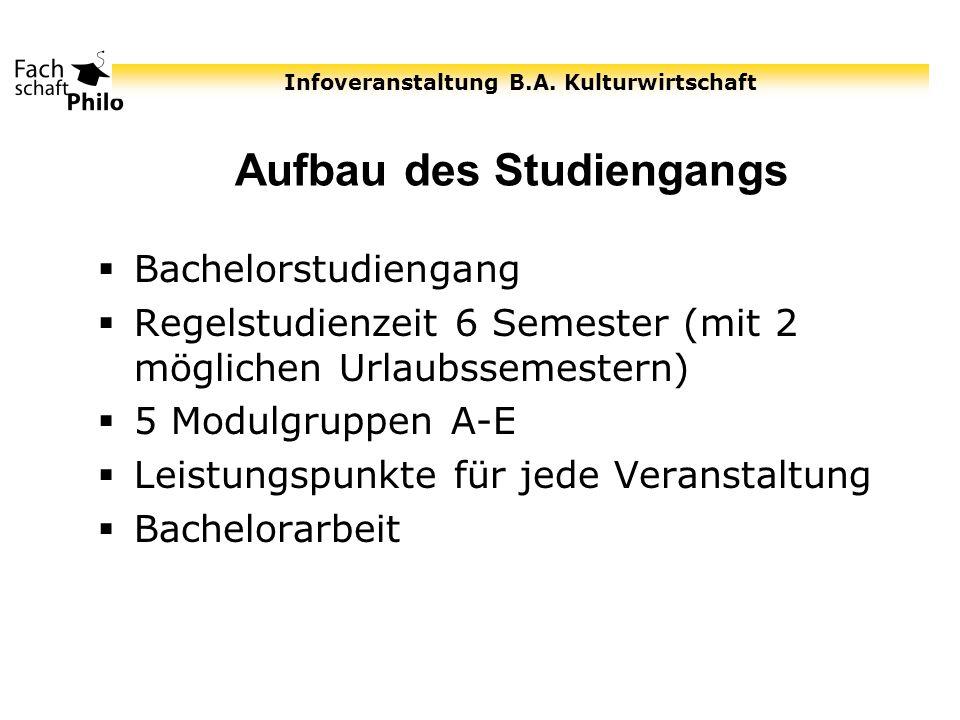 Infoveranstaltung B.A. Kulturwirtschaft Aufbau des Studiengangs Bachelorstudiengang Regelstudienzeit 6 Semester (mit 2 möglichen Urlaubssemestern) 5 M