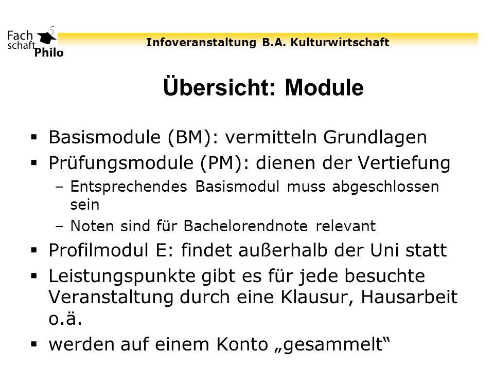 Infoveranstaltung B.A. Kulturwirtschaft Übersicht: Module Basismodule (BM): vermitteln Grundlagen Prüfungsmodule (PM): dienen der Vertiefung –Entsprec