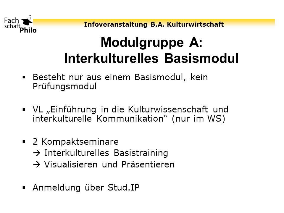 Infoveranstaltung B.A. Kulturwirtschaft Modulgruppe A: Interkulturelles Basismodul Besteht nur aus einem Basismodul, kein Prüfungsmodul VL Einführung