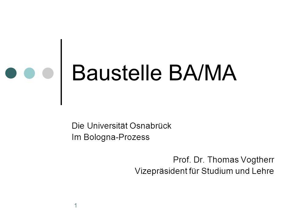 1 Baustelle BA/MA Die Universität Osnabrück Im Bologna-Prozess Prof.