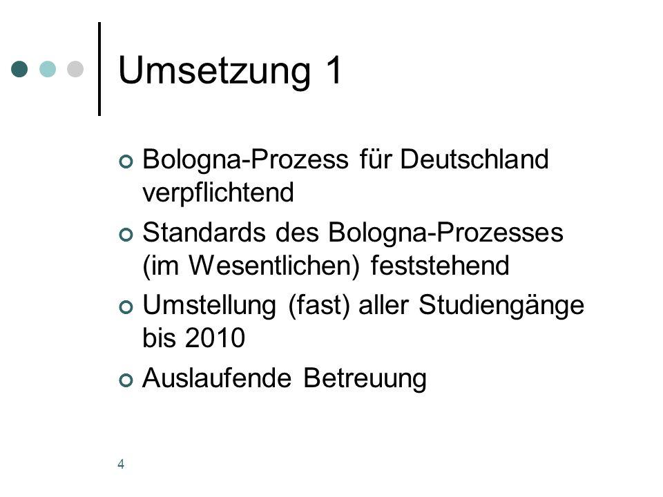 4 Umsetzung 1 Bologna-Prozess für Deutschland verpflichtend Standards des Bologna-Prozesses (im Wesentlichen) feststehend Umstellung (fast) aller Studiengänge bis 2010 Auslaufende Betreuung