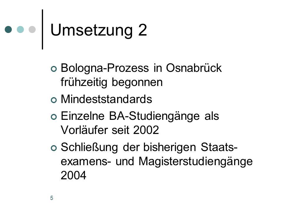 5 Umsetzung 2 Bologna-Prozess in Osnabrück frühzeitig begonnen Mindeststandards Einzelne BA-Studiengänge als Vorläufer seit 2002 Schließung der bisherigen Staats- examens- und Magisterstudiengänge 2004