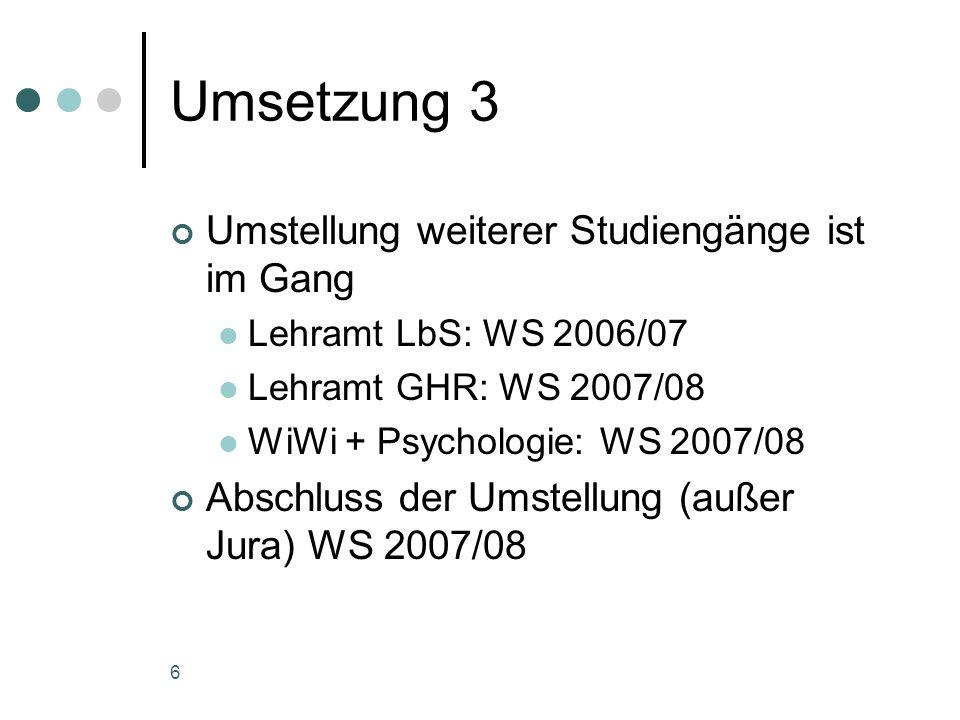 6 Umsetzung 3 Umstellung weiterer Studiengänge ist im Gang Lehramt LbS: WS 2006/07 Lehramt GHR: WS 2007/08 WiWi + Psychologie: WS 2007/08 Abschluss der Umstellung (außer Jura) WS 2007/08